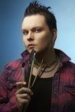 Kunstenaar met borstels. borstel Stock Foto