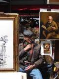 Kunstenaar in Monmartre, Parijs Stock Afbeelding