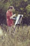 Kunstenaar op de duidelijke lucht Stock Afbeelding