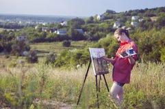 Kunstenaar op de duidelijke lucht Royalty-vrije Stock Foto