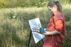 Kunstenaar op de duidelijke lucht Stock Foto's