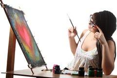 Kunstenaar op het werk royalty-vrije stock afbeelding