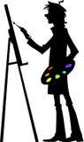 Kunstenaar op het werk Stock Foto
