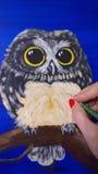 Kunstenaar Painting een Uil royalty-vrije stock foto's