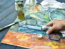 Kunstenaar And Painting Technique royalty-vrije stock foto