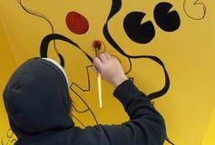 Kunstenaar Painting Wall Mural stock foto's