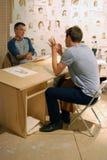 Kunstenaars in 6de Moskou Biennale van Eigentijds Art. Stock Fotografie
