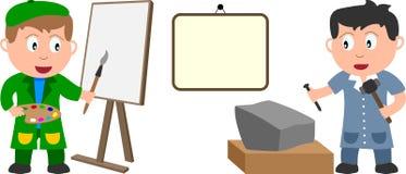 Kunstenaars en Banner Stock Afbeeldingen