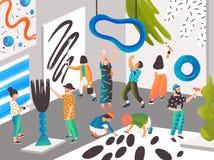 Kunstenaars en beeldhouwers die en op kunstwoonplaats of plaats schilderen beeldhouwen voor creatieve mensen Mannen en vrouwen he stock illustratie