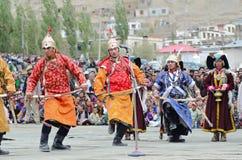 Kunstenaars op Festival van Erfenis Ladakh Stock Foto's