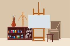 Kunstenaars` s workshop met artistiek hulpmiddelen, schildersezel en canvas vector illustratie