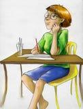 Kunstenaarsmeisje die op inspiraton wachten Stock Fotografie