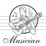 Kunstenaarsmusicus Playing De akoestische speeldetails van de gitaargitarist Muzikale instrumant met uitvoerdershanden royalty-vrije illustratie