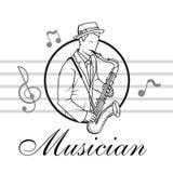 Kunstenaarsmusicus Playing Saxofoonspeler stock illustratie