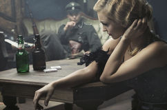 Kunstfoto des Raumes voll der deutschen Soldaten lizenzfreies stockfoto