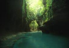 Kunstfoto fee backgroud groene wilde maagdelijke aard reis aan Georgië, die naar Martvili-canion reizen Mountain Lake stock afbeeldingen