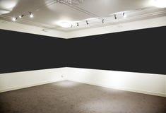 Kunstgalerie. Breites schwarzes Panel. Stockfoto