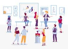 Kunstgalerie met bezoekers die schilderijen vector vlakke illustratie bekijken Mensen bij de karakters van het tentoonstellingsbe royalty-vrije illustratie
