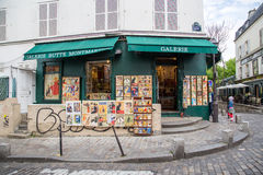 Kunstgalerie in Montmarte, Paris Stockfotografie