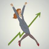 Kunstgeschäfts-Vektorillustration mit dem Frauenspringen hoch und glücklich Stockfoto