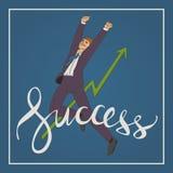 Kunstgeschäfts-Vektorillustration mit dem Mann, der hohen und glücklichen Handschriftsbeschriftungs-Worterfolg springt Lizenzfreies Stockfoto