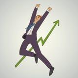Kunstgeschäfts-Vektorillustration mit dem Mannspringen hoch und glücklich Lizenzfreies Stockfoto