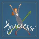 Kunstgeschäfts-Vektorillustration mit der Frau, die hohen und glücklichen Handschriftsbeschriftungs-Worterfolg springt Stockfotos