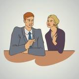 Kunstgeschäfts-Vektorillustration mit Unterhaltungsfrau des Mannes Lizenzfreies Stockfoto