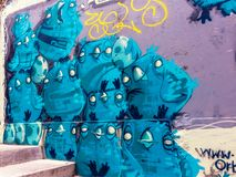 Kunstgraffiti in Valparaiso, Chili royalty-vrije stock afbeeldingen