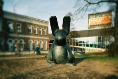 Kunsthal Rotterdam. Rabbit statues outside the Kunsthal by Rem Koolhaas in Rotterdam Stock Photography