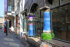 Kunsthaus Wien (Vienna/Austria). Art Gallery - designed by the famous Austrian painter and architect Friedensreich Hundertwasser (picture taken on February 12th Stock Photos