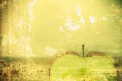 Kunsthintergrund-Grünapfel in der grunge Art Stockfoto