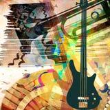 Kunsthintergrund mit Gitarre und Trompete Stockbild