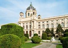 Kunsthistorisches Museum in Vienna. Kunsthistorisches (Fine Art) Museum, pretty garden and sculpture in Vienna, Austria Stock Image