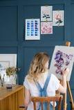 Kunsthobbyblumenmusterzeichnungs-Blumenaquarell Lizenzfreie Stockbilder