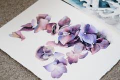 Kunsthobbyblumenmusterzeichnungs-Blumenaquarell Lizenzfreie Stockfotos