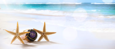Kunsthochzeit oder -flitterwochen auf tropischem Strand Stockbilder