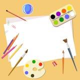Kunsthulpmiddelen en materialen voor het schilderen en schepsel voor kunstenaar Brushes, potloden, document en verven Beeldverhaa royalty-vrije stock fotografie
