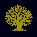 Kunstillustratie van de lente vertakte boom, gestileerd ecologiesymbool Royalty-vrije Stock Afbeelding