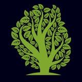 Kunstillustratie van de lente vertakte boom, gestileerd ecologiesymbool Stock Fotografie