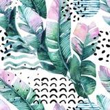 Kunstillustration mit tropischen Blättern, Gekritzel, Schmutzbeschaffenheiten, geometrische Formen in 80s, minimale Art 90s Stockbild