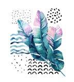 Kunstillustration mit tropischen Blättern, Gekritzel, Schmutzbeschaffenheiten, geometrische Formen in 80s, minimale Art 90s Stockbilder