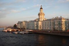 Kunstkamera的大厦 大教堂圆屋顶isaac ・彼得斯堡俄国s圣徒st 免版税库存图片