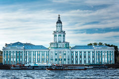 Kunstkamera building on embankment of Neva river in Saint Peters Royalty Free Stock Images