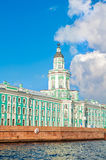 Kunstkamera building at the University quay near the Neva river in St Petersburg, Russia Stock Images