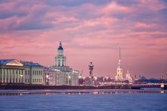 Kunstkamera, colonne Rostral et cathédrale de Peter et de Paul Fort Photos libres de droits