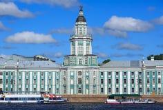 Kunstkamera muzeum przez Neva rzekę petersburg bridżowy okhtinsky święty Russia obraz stock
