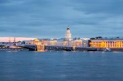 Kunstkammer-Museum auf der Vasilevskiy-Insel von über Neva River in St Petersburg Lizenzfreie Stockbilder