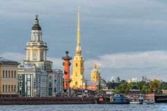 Kunstkammer, Rostral Spalten, Peter und Paul Fortress St Petersburg Lizenzfreie Stockfotografie