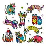 Kunstkatzen mit Blumenverzierung für Ihr Design Lizenzfreie Stockfotos
